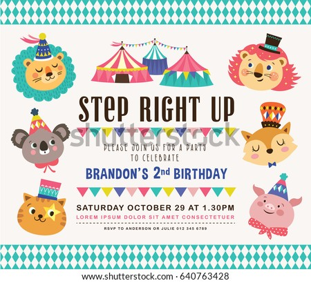 Kids Birthday Party Invitation Card Circus Image Vectorielle De