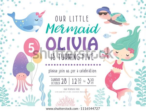 Kids Birthday Party Invitation Card Cute Stock Vector