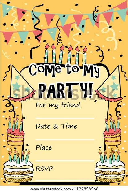 Kids Birthday Party Invitation Card Sentence Wektorowa