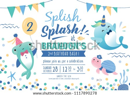 Kids Birthday Party Under Sea Theme Stock Vector Royalty Free