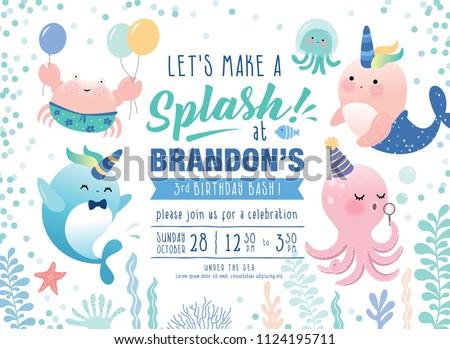Kids Birthday Party Under Sea Theme Stock Vektorgrafik Lizenzfrei