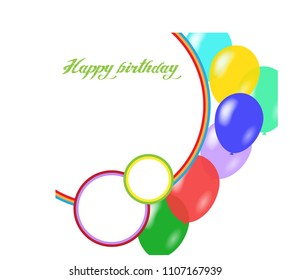 Kid's birthday vector background with balloons