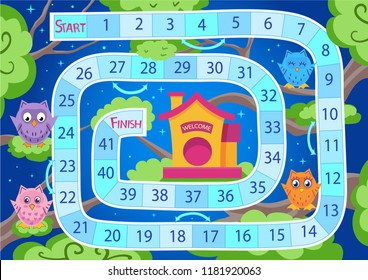 Kids board game with cute owls. Worksheets for book. Children funny entertainment. Kids art game and activity page. Wallpaper for print with forest background. Vector illustration.