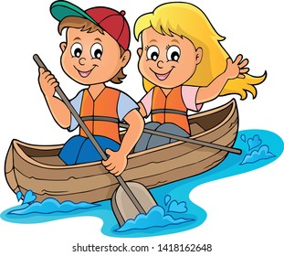 Kids in boat theme image 1 - eps10 vector illustration.