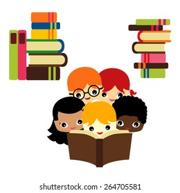 Kids and books vector.