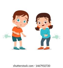 kids boy and girl farting vector illustration