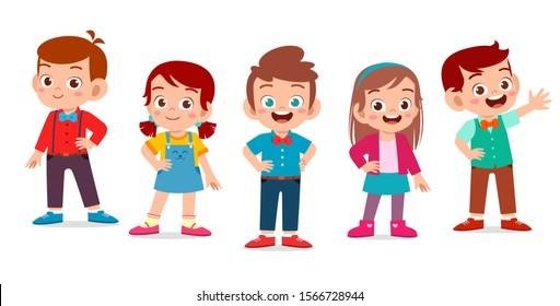 kids boy and girl pose as model set vector