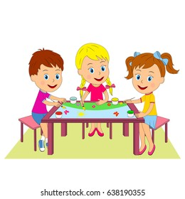 kids, boy and girls draw at the table, illustration, vector