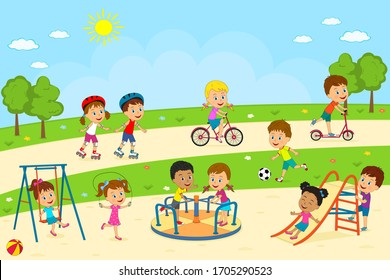 kids, boys and girls  play on the playground, illustration,vector