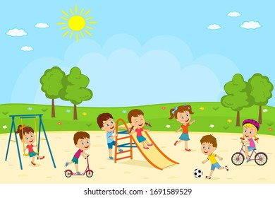 kids, boys and girls are playing on the playground, illustration,vector