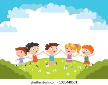 Kids. Boys and girls plays and jump on a bright lawn. Vector illustration