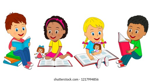 kids, boys and girls sit on the floor and read a books, illustration,vector