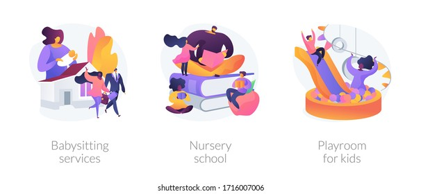 Kids bringing up and leasure time abstract concept vector illustration set. Babysitting services, nursery school, playroom for kids, personal childcare help, pre-school program abstract metaphor.