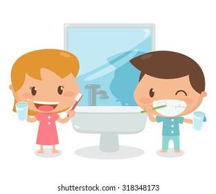 Kids brushing teeth. Vector. illustration.