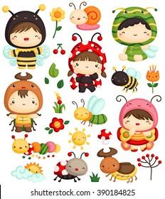 Kids in Bugs Costume Vector Set