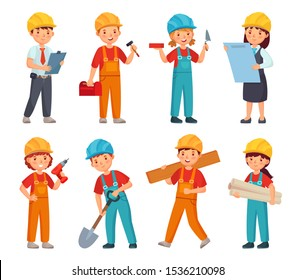 Kids builders. Little boys and girls in builder work suit, children in construction helmet and engineering costumes. Little builders character worker in uniforms cartoon isolated vector icons set