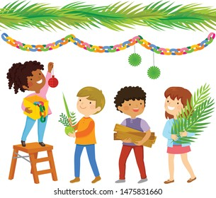Kids building a booth for Sukkot and hanging decorations