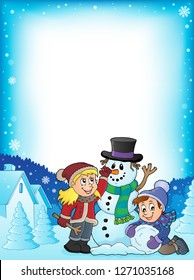 Kids building snowman theme frame 1 - eps10 vector illustration.