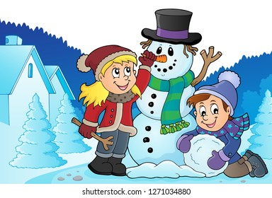 Kids building snowman theme image 3 - eps10 vector illustration.