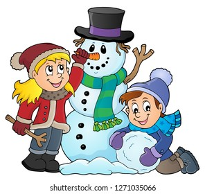 Kids building snowman theme image 1 - eps10 vector illustration.