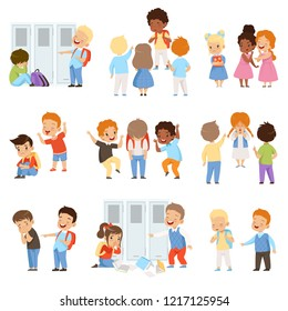 Kids bullying the weaks set, bad behavior, conflict between children, mockery and bullying at school vector Illustration