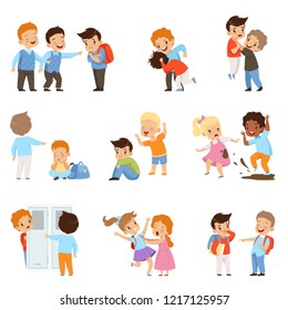 Kids bullying the weaks set, boys and girls mocking classmates, bad behavior, conflict between children, mockery and bullying at school vector Illustration