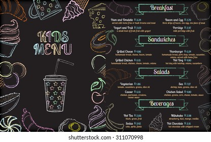 Kids cafe menu brochure template with colorful chalk hand-drawn ingredients on black chalkboard background vector illustration