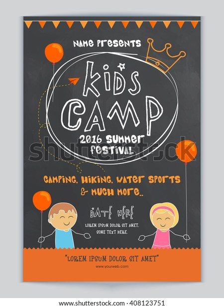 Kids Camp, Summer Festival celebration Template, Banner or Flyer design with illustration of cute kids and party details.