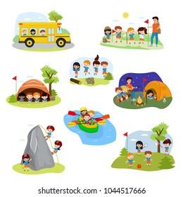 Kids camp vector children camper characters and camping activity on summer vacation illustration set of child playing in tent near campfire in campsite isolated on white background