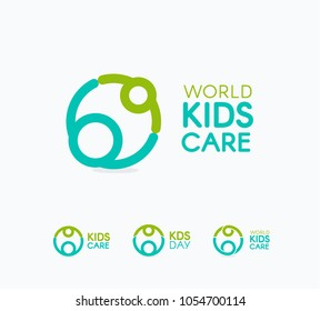 Kids care logo, circular concept protection child icon, mother and baby abstract logotype, world children protection day, isolated vector illustration on white background.
