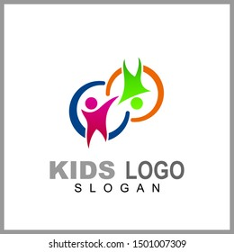 Kids care logo vector, caring children, family parenting, charity people, health care clinic, happy child play with parent