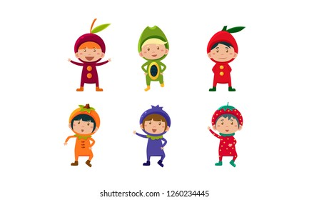 Kids in carnival clothes set, cute little boys and girls wearing fruits and berriess costumes, cherry, orange, blueberry, strawberry, papaya vector Illustration