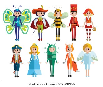 Kids and carnival costumes collection including pirate knight alien angel princess and animals isolated vector illustration