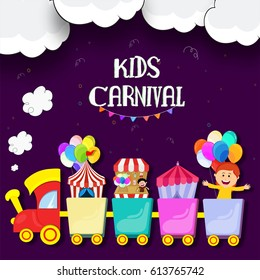 Kids Carnival or Funfair background with colorful train on cloudy background.