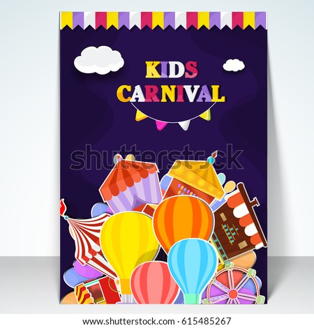 kids carnival template amusement park banner のベクター画像素材