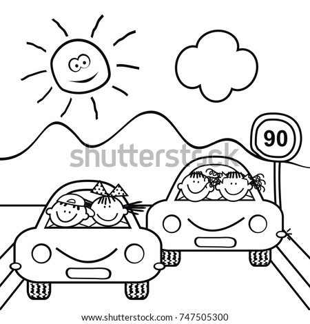 Kids Cars Traffic Sign Landscape Coloring Stock Vector Royalty Free