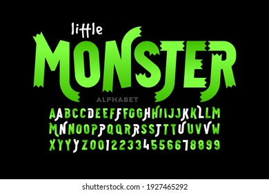Kids cartoon playful style Little Monster font, typography design, alphabet and alternate letters, numbers