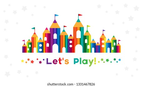 Kids castle from colorful pencils. Childhood fantasy fort with rainbow towers. Horizontal border for design kids club, preschool room or kindergarten