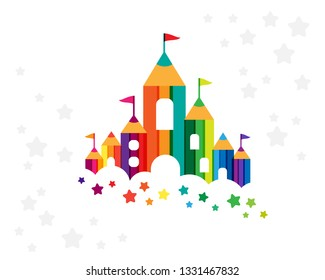 Kids castle from colorful pencils. Childhood fantasy fort with rainbow towers. Decoration element for design kids club, preschool room or kindergarten