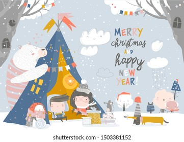 Kids celebrating Christmas with animals in a teepee tent