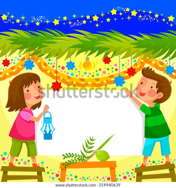 kids celebrating sukkoth in a decorated booth