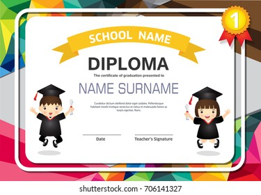 Kids certificate in polygonal style.Colorful lovely children's diploma template.