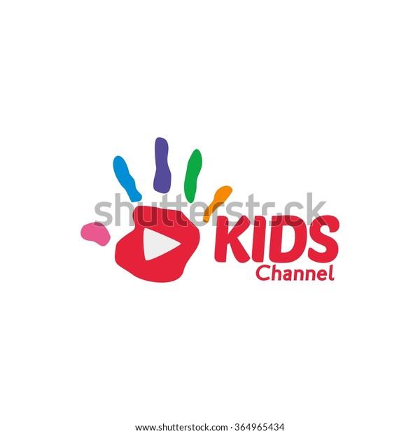 Kids Channel Logo, colorful hand mark shows creativity, Kids logo,Kids play logo,Vector Logo template