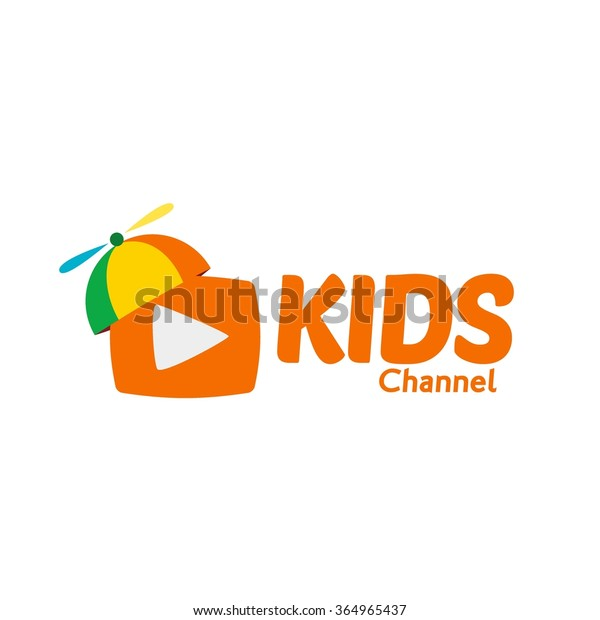 Kids Channel Logo, Colorful hats for kids shows happy time. Kids logo,Kids play logo,Vector Logo template