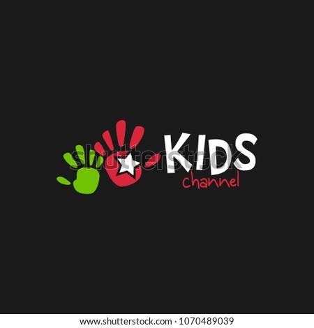 kids channel logo icon design template stock vector royalty free