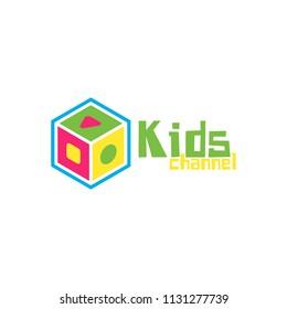 Kids Channel Logo icon template. Kids play emblem. Block shape toy. Vector illustration