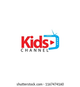 Kids Channel Logo Vector Template Design Illustration