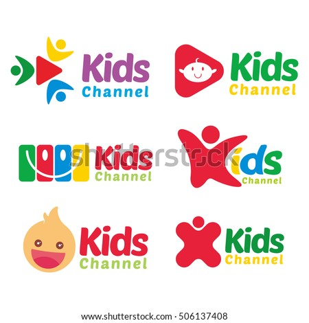 kids channel tv logo icon template stock vector royalty free