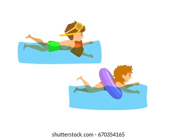 kids, children, boy and girl swimming in pool, isolated