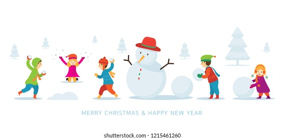 Kids or Children Build a Snowman and Playing Snow, Christmas, Winter and New Year Celebration